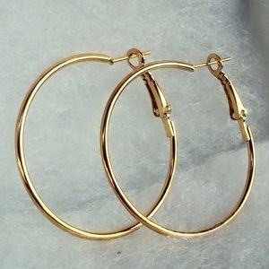 Jewelry - 14K Rose Gold Round Hoop Earrings